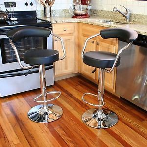 2 Piece Adjustable Height Bar Stool Seats Chair Table Retro Swivel Padded Seat
