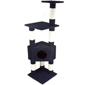 "Deluxe 53"" Cat Tower Tree w Condo Scratcher Furniture Kitten House Navy Blue Bed"