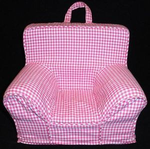 "Pottery Barn Kids Doll Chair Pink Gingham Fits Up to 18"" Doll"
