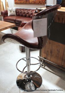 Cool Modern Leather Bar Stool Seat Vintage Cigar Brown Chrome Swivel Adjust