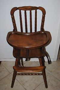 Vintage Jenny Lind Solid Wood Wooden Walnut Finish High Chair Highchair Baby