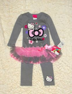 Hello Kitty Toddler Girl 2T Gray Pink Tutu Dress Legging Outfit Set Kohls