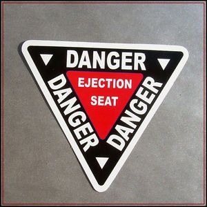 Danger Ejection Seat Sticker Decal Vinyl Car Chair Aircraft Warning Aircraft WW2