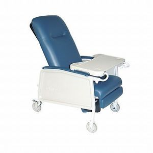 Drive D574 BR 3 Position Geri Chair Recliner w Casters Tray Blue Ridge