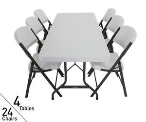 4 Tables 24 Chairs Lifetime 6 ft Commercial Folding Tables Chairs 80148