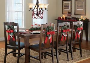 Set of 4 Faux Christmas Holiday Wreath Kitchen Dining Chair Decoration with Hook