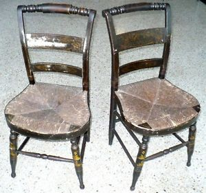 Old American Pre Civil War Era Hitchcock Chairs Ebonized Gold Stencil Make OFFER