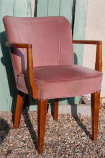 Vintage 1950's Office Chair Pink Art Deco Club Chair Retro Desk Armchair Chic