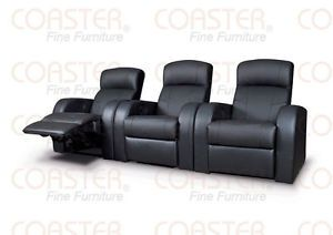 Movie Home Theater Seats Leather Recliners 4 Chairs 3 Wedges