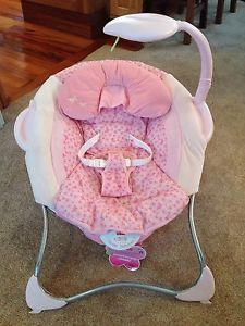 Fisher Price Pink Butterfly Papasan Seat Baby Girl Chair Bouncer Preowned