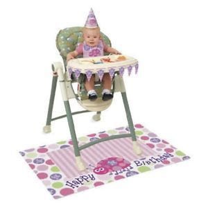 1st Happy Birthday Party Pink Girl Lady Bug Ladybug 1 High Chair Kit Bib Banner