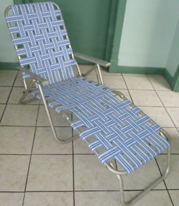 Retro Aluminum Folding Webbed Lawn Chair Chaise Lounge Blue White Stripes