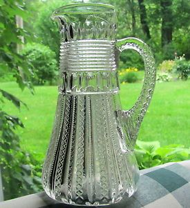 "1894 1920 Antique Duncan Miller ""Mardi Gras"" EAPG Pattern Glass Pitcher"