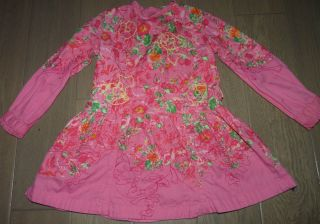 OILILY Pink Embroidered Floral Long Sleeve Dress Spring Toddler Girls 3T 3 4T 4