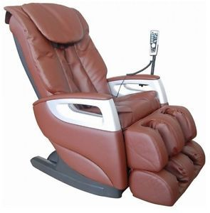 New Cozzia 16018 Brown Full Body Massage Chair Recliner w LED Remote Control