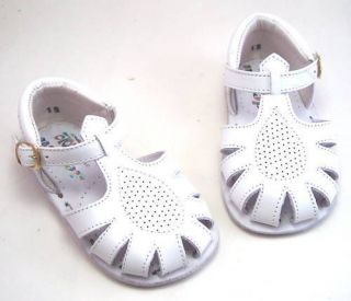 NIB de OSU Spain Baby Boys Girls White Leather Sandals Size 3 Euro Size 18