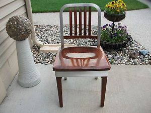 Vtg Shaw Walker Aluminum Wood Industrial Design Side Chair Mid Century Office