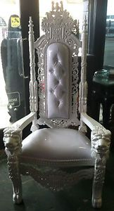 Hollywood White on White Lion Head King Chair Throne Queen One of A Kind