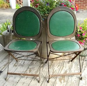 Awesome Art Deco Vintage Steampunk Folding Metal Chairs w Padded Seats BRC USA