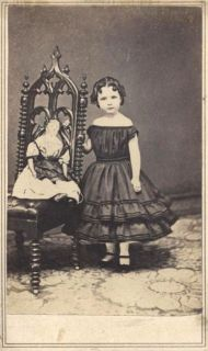 Little Girl with 3 Tier Dress with Baby Doll in Small Chair CDV Kansas