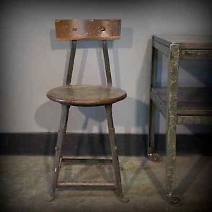 Vintage Industrial Adjustable Pioneer Stool Chair Angle Iron Wood Art Machinist