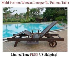 Outdoor Wood Chaise Lounge Chair Patio Furniture Teak Oil Finish Multi Position
