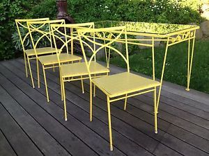 Vtg Mid Century Wrought Iron Patio Set Modern Dining Table Chairs Hairpin Legs
