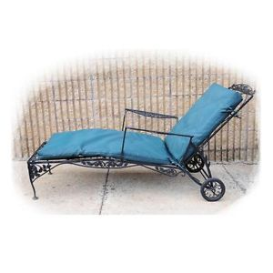 Vtg Mid Century Wrought Iron Garden Outdoor Chaise Lounge Arm Chair Woodard Era