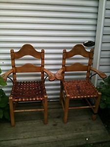 Antique Monterey Rancho Early California Captain Chairs with Leather Strap Seat