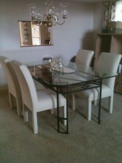 Wrought Iron Dinning Room Glass Top Table and 4 Chairs