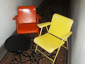 Vintage Pair of Russell Wright Folding Metal Chairs Mid Century Modern