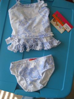 Kate Mack Baby Biscotti Blue White Swimsuit 24 Months UPF 50 515CIA