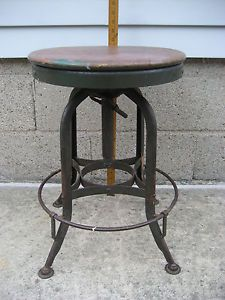 Industrial Machine Age Stemapunk Adjustable Swivel Stool Chair Vintage