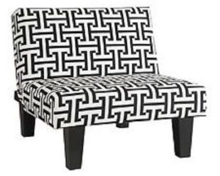 Modern Accent Kebo Chair Covert to Multi Position Sleeper Black White Pattern