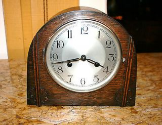 English Antique Art Deco Haller Mantel Mantle Clock Runs Perfect Key Included