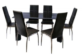 7pc Modern Rectangular Glass Top Table Chairs Dining Room Set ZYT3430