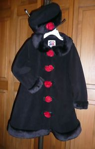 Girl's Sz 4T Princess Dress Coat and Hat w Red Velvet Roses Faux Fur Trim