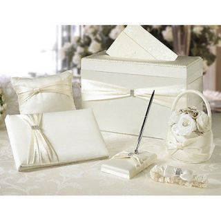 Ivory Sash Wedding Accessories 6 Piece Set with Gift Card Box Wedding Set in Box