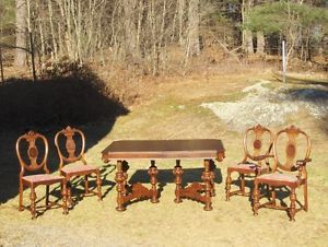 Antique Art Deco Era Mahogany Dining Table Chairs Dining Set 1930