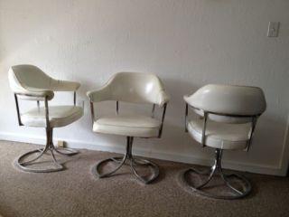 Lot of 3 Vintage 70s Mid Century Chrome Swivel Barrel Back Club Armchairs Chairs