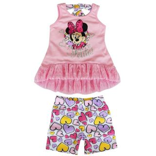 Pink Minnie Mouse Girls Baby 2 Piece Outfit Top Dress T Shirt Shorts Pants 2T 4T