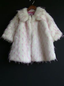 Boutique Cottontail Originals White Pink Faux Fur Coat Size 2T