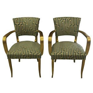 Pair French Art Deco Giltwood Bridge Chairs Arm Chairs Circa 1940'S