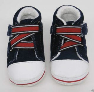 Baby Boys Girls Firs Shoes Navy Blue Red White Trainers Velcro