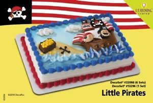 Little Pirates Cake Decoration Topper Party Birthday Supplies Kit Set Cupcake NW