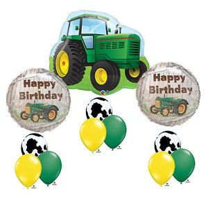 John Deere Farm Toy Tractor Cow Happy Birthday Party Supply Balloon Mylar Set