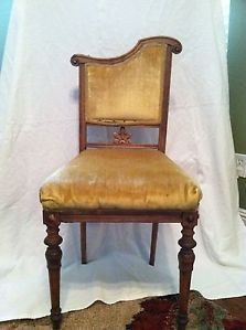 French Art Nouveau Walnut Wood Chairs 4 Upholstered in Soft Yellow Circa 189