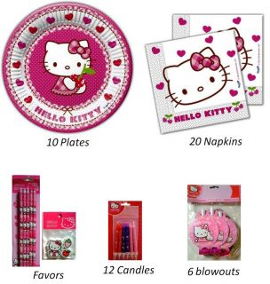 Hello Kitty Birthday Party Supply Set Plates Napkins Candles Blowouts Favors