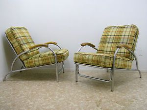 Pair Chrome Art Deco Lounge Chairs Vtg Machine Age KEM Weber Lloyd Howell Style