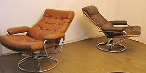Danish Modern Chrome and Leather Recliner Scandinavian Lounge Chair